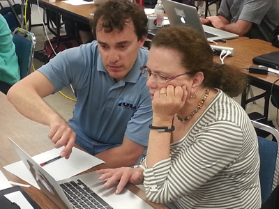 Teacher being tutored in JDL Horizons video training